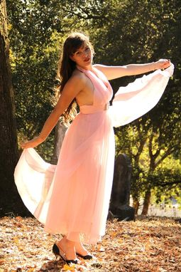 Custom Made Vintage 50s 60s Pink Silk Chiffon Over Silk Linen Halter Evening Dress Empire Waist