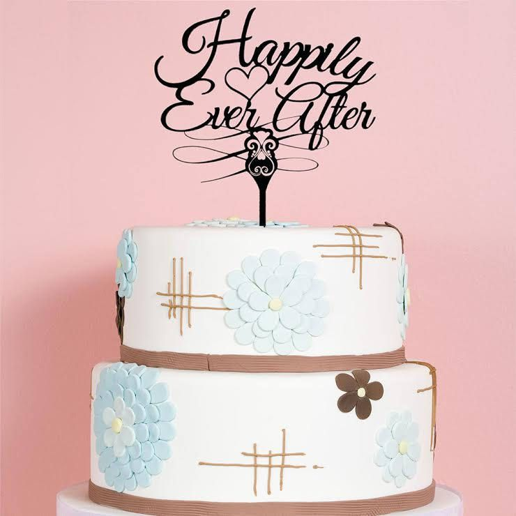 Buy A Custom Made Happily Ever After Wedding Cake Topper Fancy Black