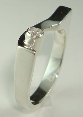 Custom Made Sterling Silver Ring Set With A Sparkling Zircon