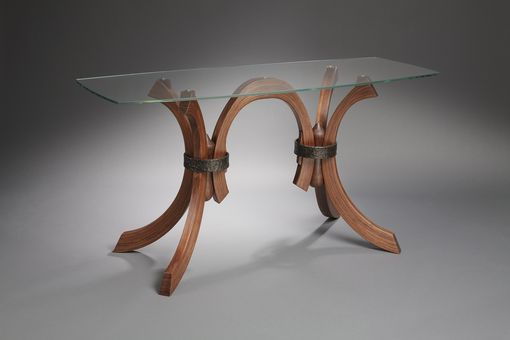 Custom Made Glass Table With Wood And Forged Iron Legs
