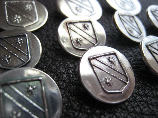 Custom Made Set Of Custom Blazer Buttons In Sterling Silver With Your Initial, Monogram, Or Custom Logo.