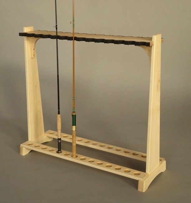 Hand crafted fly rod rack by katahdin studio furniture for Fly fishing rod holder