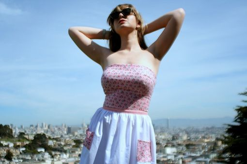 Custom Made Vintage Sundress, Pinup Pink Cherries Dress With Pockets, Made To Your Size, Any Fabric