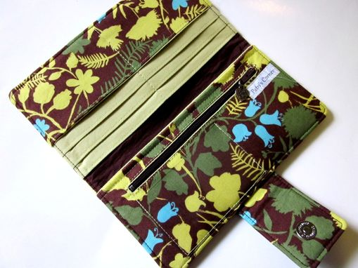 Custom Made Handmade Women Brown Wallet With Green And Turquoise Foliage.