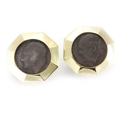 Custom Made Dime Stud Earrings In 14k Yellow Gold, Coin Earrings, Ladies Earrings
