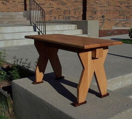 Custom Made Red Oak Benches With Walnut Feet