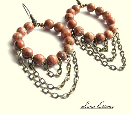 Custom Made Sunset Jasper Vintage Brass Chain Dangle Chandelier Earrings