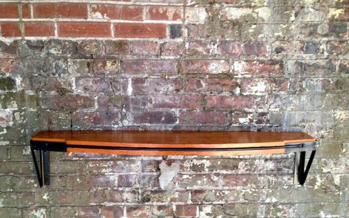 Custom Reclaimed Wood And Iron Shelf With Forged Strap By