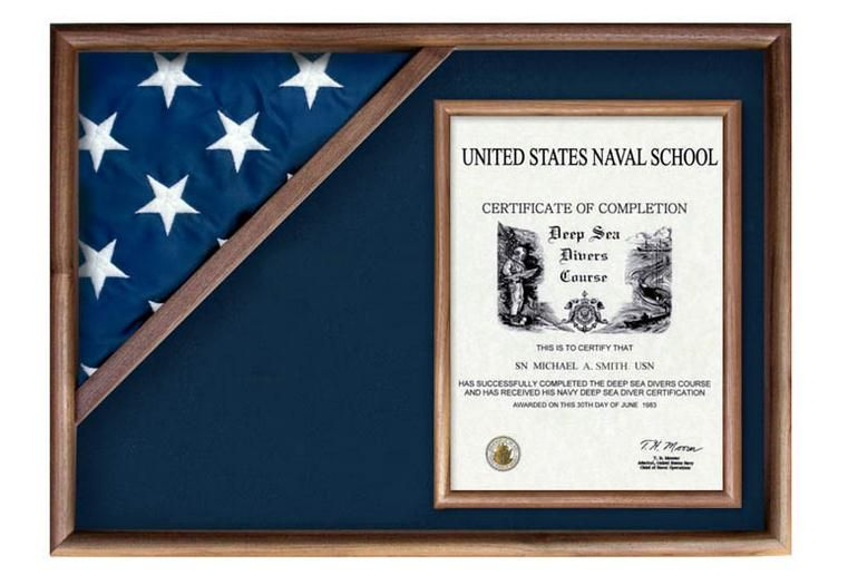 Custom Made Flag Display Case And Certificate Box