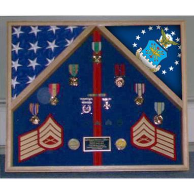 Custom Made Navy Flag Case For 2 Flags And Medals