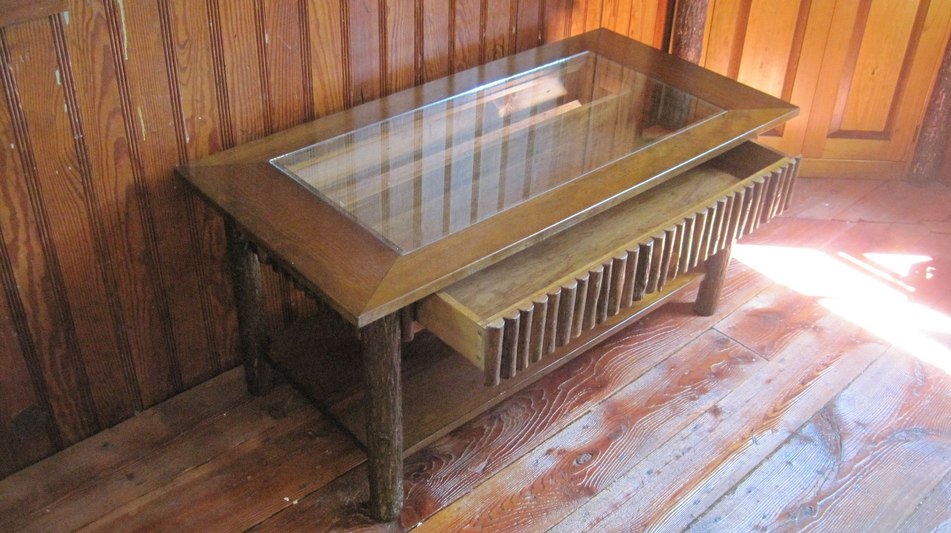 custom hickory display coffee table by cottage. Black Bedroom Furniture Sets. Home Design Ideas