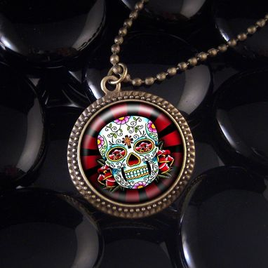 Custom Made Antique Bronze Day Of The Dead Rays Pendant Necklace 61-Brn
