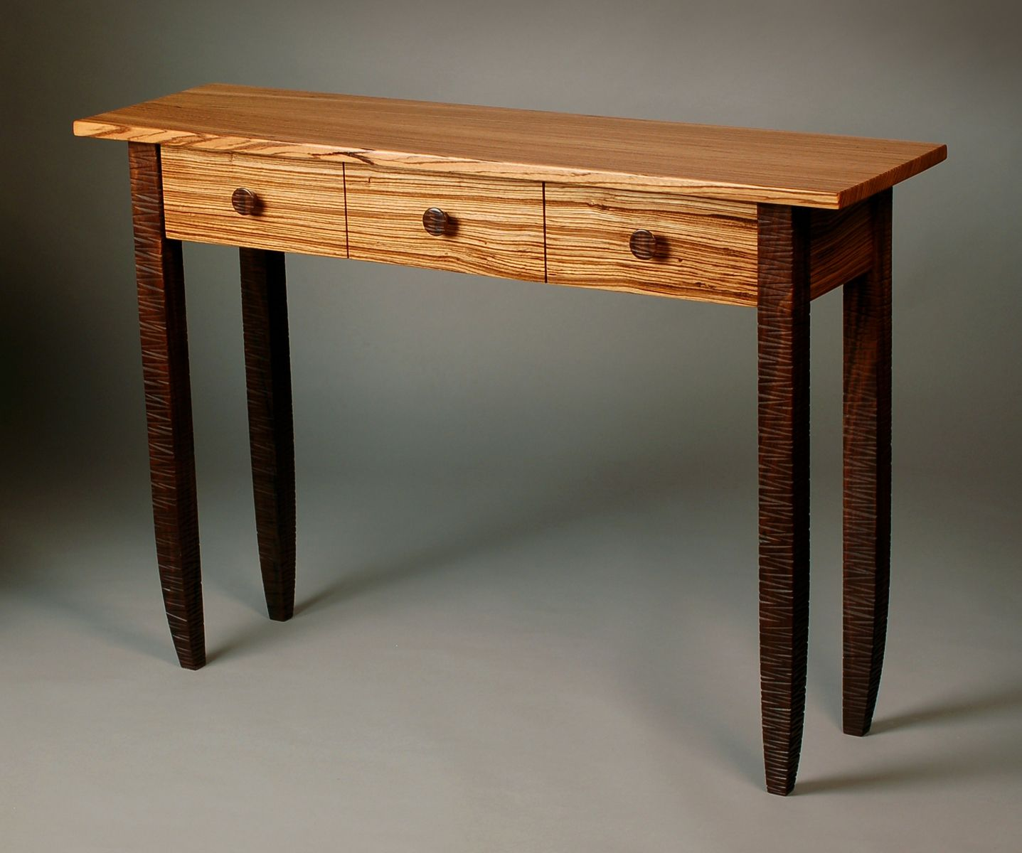 Custom Made Zed Zebra Wood And Walnut Hall Table