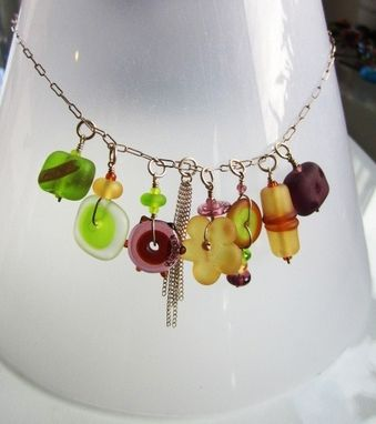 Custom Made Glass Beads Necklace Amber & Autumn Colors