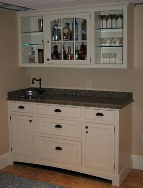 Custom Made Stone Top Bar Cabinet And Sink