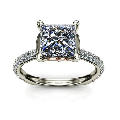 Custom Made Diamond Princess Solitaire Pave Engagement Ring