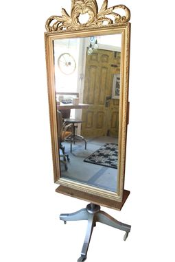 Custom Made Vintage Gold Gilded Mirror With Industrial House Jack Base