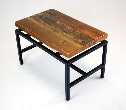 Custom Made Floating Top Industrial Coffee Table In Reclaimed Fir