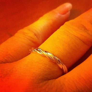 Custom Made 14 Kt Yellow Gold Classic Three Twist 3mm Wide Commitment Or Wedding Band
