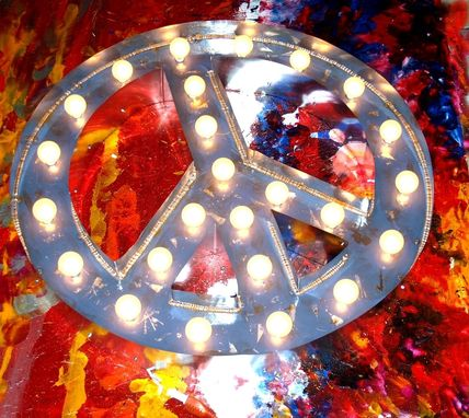 Custom Made Marquee Peace Vintage Outdoor Aluminum Double