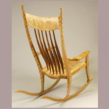 Custom Made Spalted Maple High Back Rocking Chair