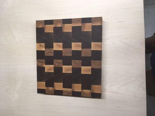 Custom Made End Grain Walnut And Maple Butcher Block