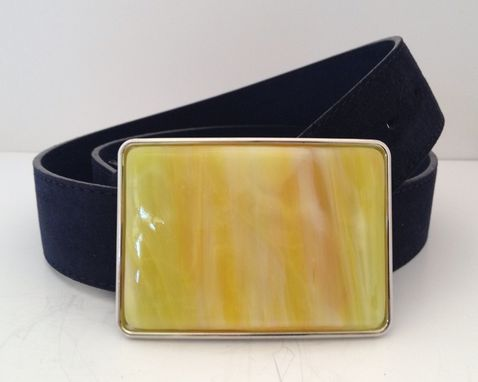 Custom Made Bright Sunshine Yellow With A Little Orange, Fused Glass Belt Buckle