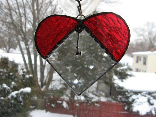 Custom Made Heart-Shaped Stained Glass Light Catcher With Key Charm