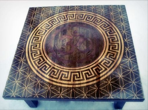 Custom Made Custom Stenciled Om Table. Oak Butcher Block Sacred Geometry