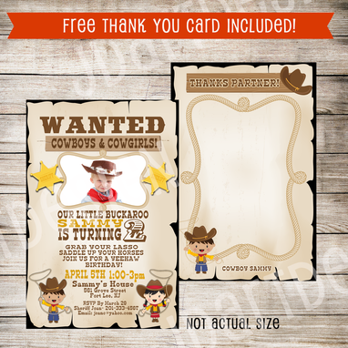 Custom Made Printable Children Party Theme Invitations W/Free Thank You Cards