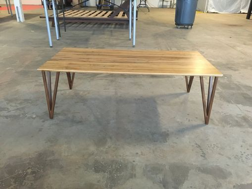Custom Made Mid Century Coffee Table With Wooden Hairpin Legs