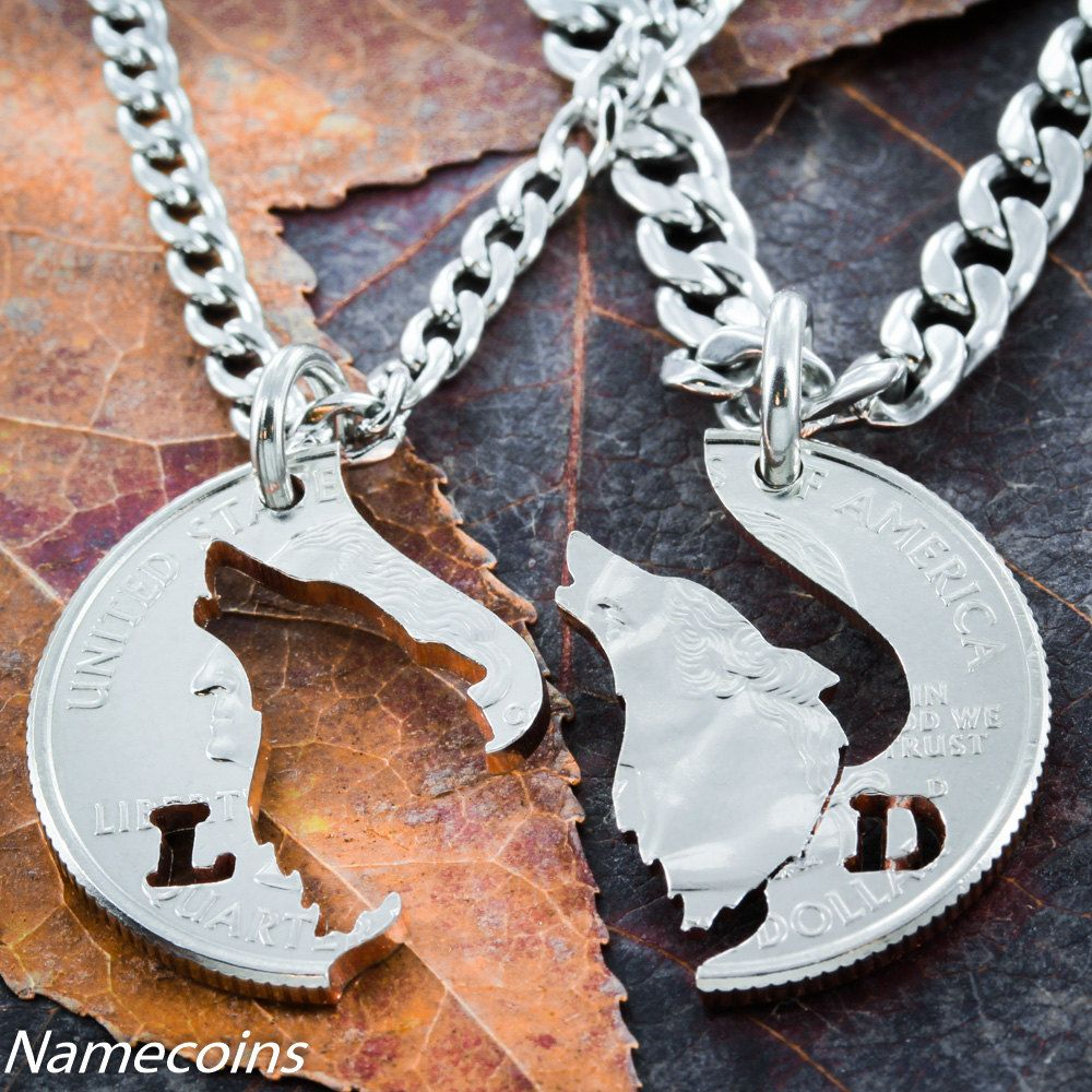 Buy a hand made customized howling wolf necklace with initials his custom made customized howling wolf necklace with initials his and hers matching couples jewelry mozeypictures Choice Image