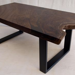 Walnut Coffee Table With Steel Base By Michael Heuser