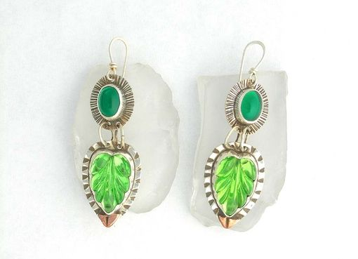 Custom Made Green Glass Leaf Earrings Set In Oxidized Sterling Silver With Copper Accents
