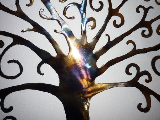 "Custom Made ""Tree Of Life"" Hand Cut Steel Wall Art With Heat Coloring"