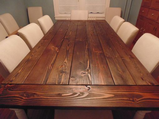 Custom Made Reclaimed Wood Farmhouse Table With Beautiful Turned Legs