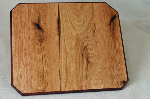 Custom Made Style # 1 Cutting Board, Forklift Pallet Salvage Red Oak And Bloodwood Framing, 13.5 X 15.5 Inches