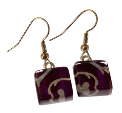 Custom Made Square Glass And Chiyogami Earrings