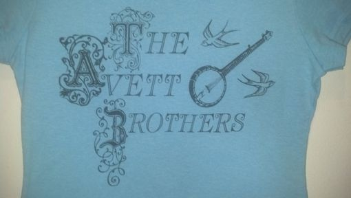 Custom Made The Avett Brothers Shirt,Women's Medium Or Large Light Blue Shirt W/Navy Blue Writing