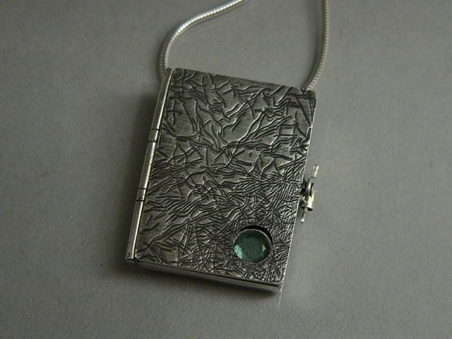 Hand made sterling silver book locket by designs by adrienne custom made sterling silver book locket aloadofball Images