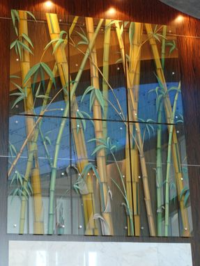 Custom Made Carved Hand Painted Safety Glass Bamboo Graphic Above Elevator Lobby At Latitude Condo Towers, Miami, Fl