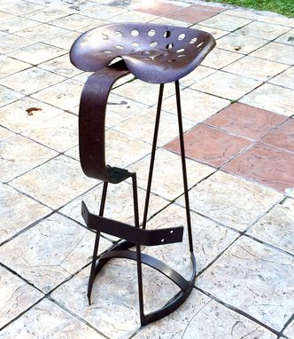 Custom Made Vintage Tractor-Seat Bar Stool, Directors Chair