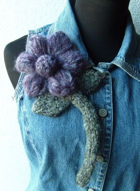 Custom Made The Oversized Floral Brooch - In Purple