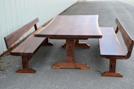 Custom Made Live Edge Walnut Trestle Table And Bench Set