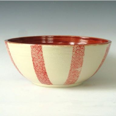 Custom Made Pottery Serving Bowl In Cream With Stripes Of Red Flowers