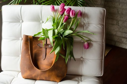 Custom Made Leather Tote Handbag