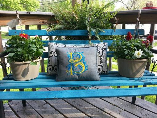 "Custom Made 14"" X 14"" Monogrammed Outdoor Pillow"