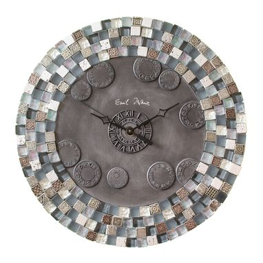 Custom Made Aztec Art City Slicker Grey Stone And Glass Mosaic Wall Clock, Metal, Large, Silent Non Ticking