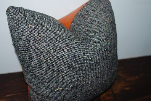 Custom Made Vintage Black Boucle Menswear Pillow Cover With Recycled Orange Leather Back