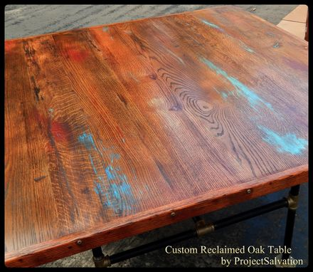Custom Made Custom Reclaimed Oak Dining Table / Industrial Table / Barn-Wood Dining Table